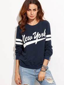 Navy Letter Print Varsity Striped Sleeve Sweatshirt