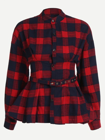 Check Plaid Stand Collar Peplum Top With Belt