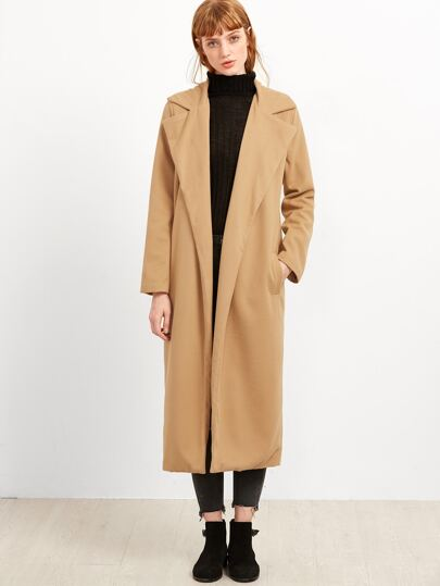 Khaki Open Front Long Coat With Pockets