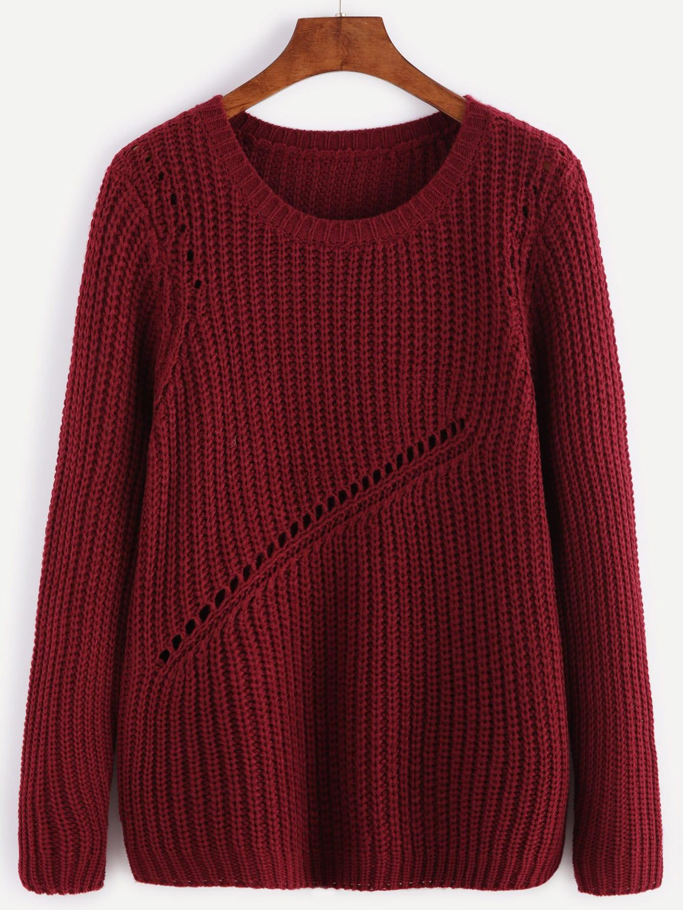 Burgundy Ribbed Knit Eyelet Panel SweaterBurgundy Ribbed Knit Eyelet Panel Sweater<br><br>color: Burgundy<br>size: one-size