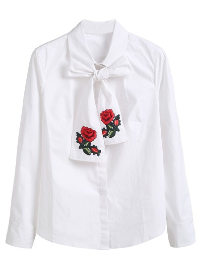 White Hidden Button Blouse With Embroidered Neck Tie
