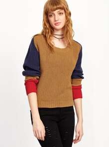 Color Block Pleated Sleeve Sweater