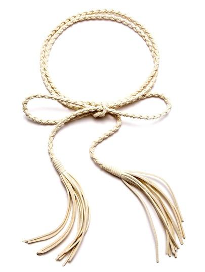 Beige Tassel Thin Braided Rope Belt