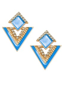 Blue Rhinestone Geometric Stud Earrings