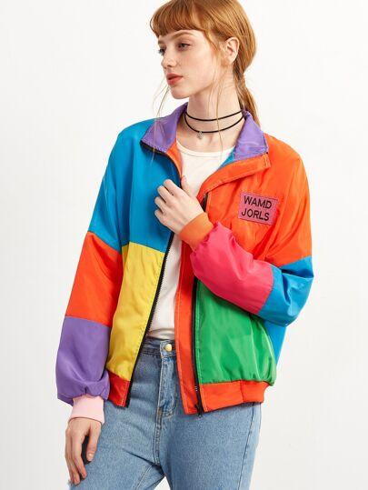 Patchwork Letter Embroidered Patch Zip Up Jacket