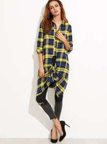 Blue And Yellow Plaid Knot Front Long Blouse