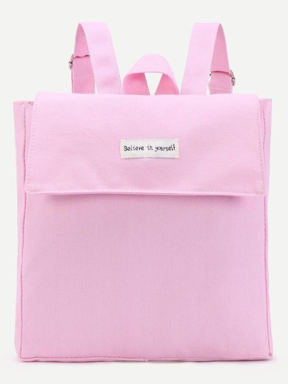 Pink Flat Canvas Flap Backpack