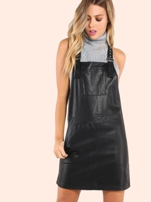 Faux Leather Buckle Strap Overall Dress BLACK
