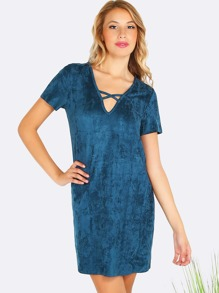 Short Sleeve Crossed Suede Dress TEAL