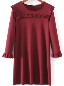Red Ruffle Detail Long Sleeve Shift Dress