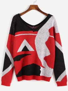 Color Block Abstract Pattern Double V Neck Sweater