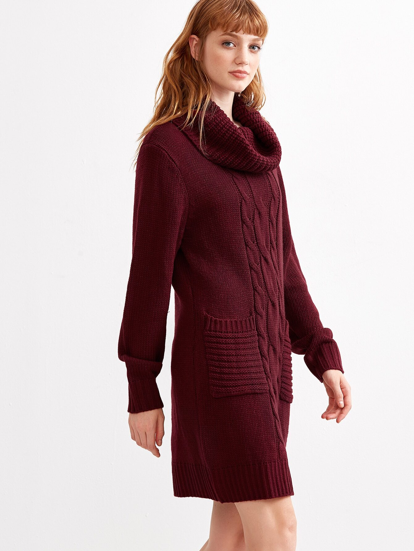 Burgundy Cowl Neck Sweater Dress Baggage Clothing