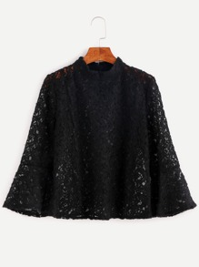Black Mock Neck Bell Sleeve Lace Blouse