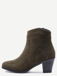 Army Green Nubuck Leather Almond Toe Chunky Heel Booties