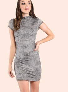 Mock Neck Short Sleeve Bodycon Dress GREY