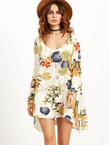Apricot Tropical Print Split Sleeve Swing Dress