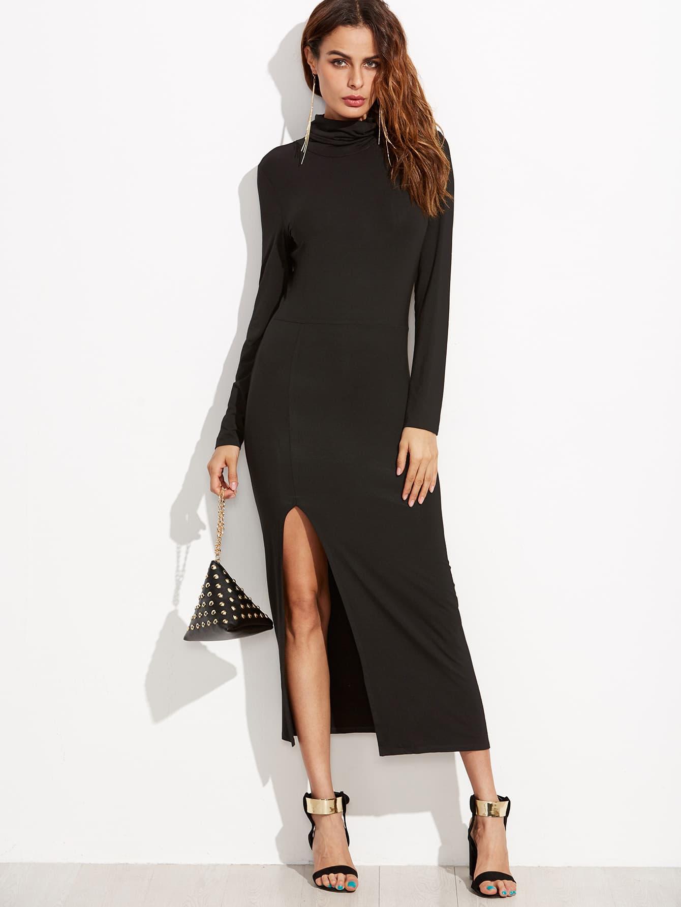 Black Cowl Neck High Slit Sheath Dress dress160909510