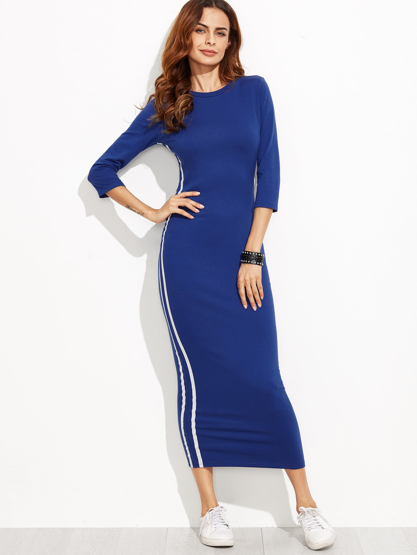 Image of 3/4 Sleeve Striped Side Seam Pencil Dress