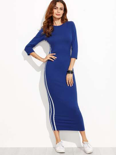3/4 Sleeve Striped Side Seam Pencil Dress