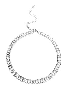 Silver Plated Geometric Choker Necklace