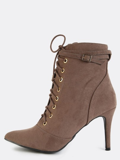 Stiletto Pointed Toe Ankle Boots TAUPE