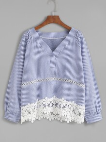 Blue Striped Appliques Hollow Out Blouse