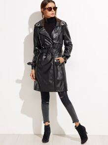 Black PU Metal Embellished Trench Coat With Belt