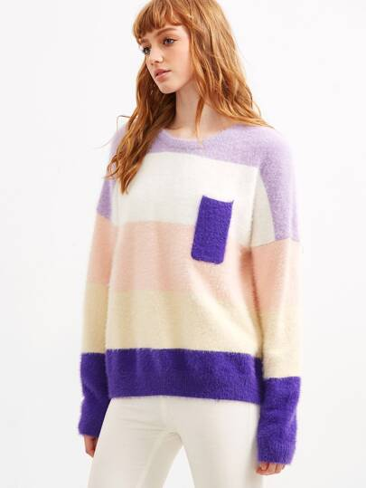 Color Block Drop Shoulder Mohair Sweater With Pocket