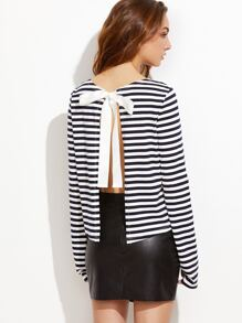 Navy And White Striped Split Bow Back T-shirt