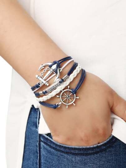 Braided Leather Bracelet With Anchor And Rudder