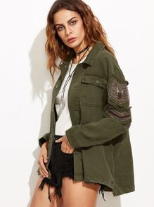 Army Green Beaded Button Up High Low Coat With Pocket