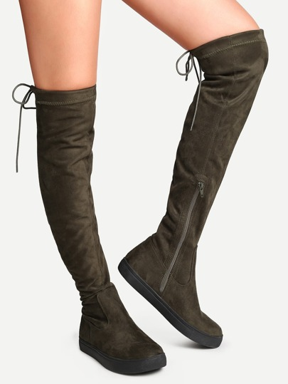Army Green Round Toe Tie Back Over The Knee Boots