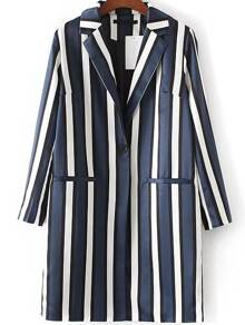 Blue Vertical Striped Single Button Long Blazer