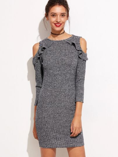 Marled Knit Frill Trim Open Shoulder Dress