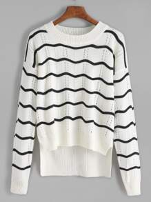 Pull en œillet motif vague - blanc