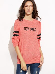 Pink Marled Knit Letter Print Striped Sleeve Sweatshirt