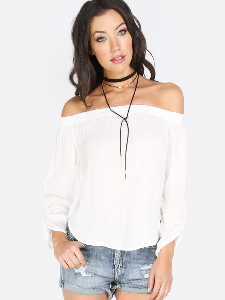 White Off The Shoulder Long Sleeve BlouseWhite Off The Shoulder Long Sleeve Blouse<br><br>color: White<br>size: L,M,S,XS