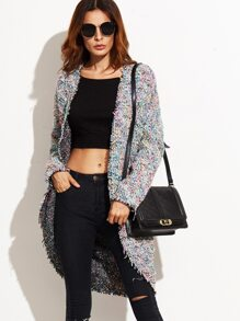 Multicolor Tweed Raw Edge Coat With Pockets