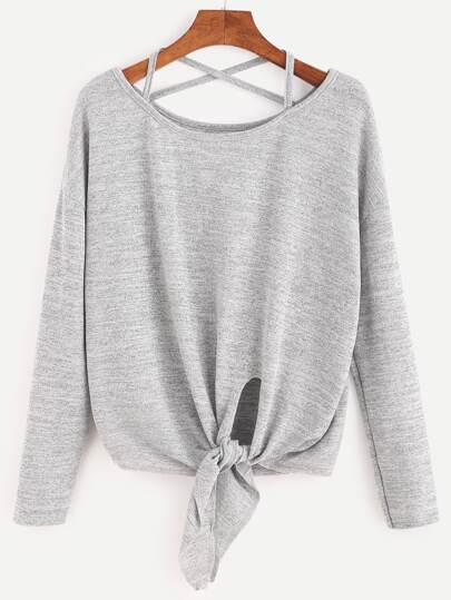 Heather Grey Drop Shoulder Criss Cross Tie Front T-Shirt