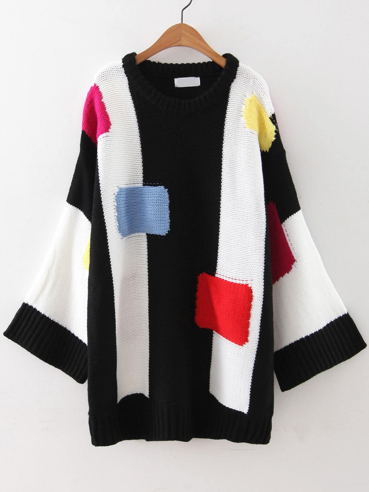 Color Block Drop Shoulder Loose SweaterColor Block Drop Shoulder Loose Sweater<br><br>color: Black<br>size: one-size