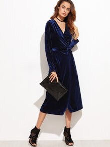 Navy Surplice Front Velvet Wrap Dress