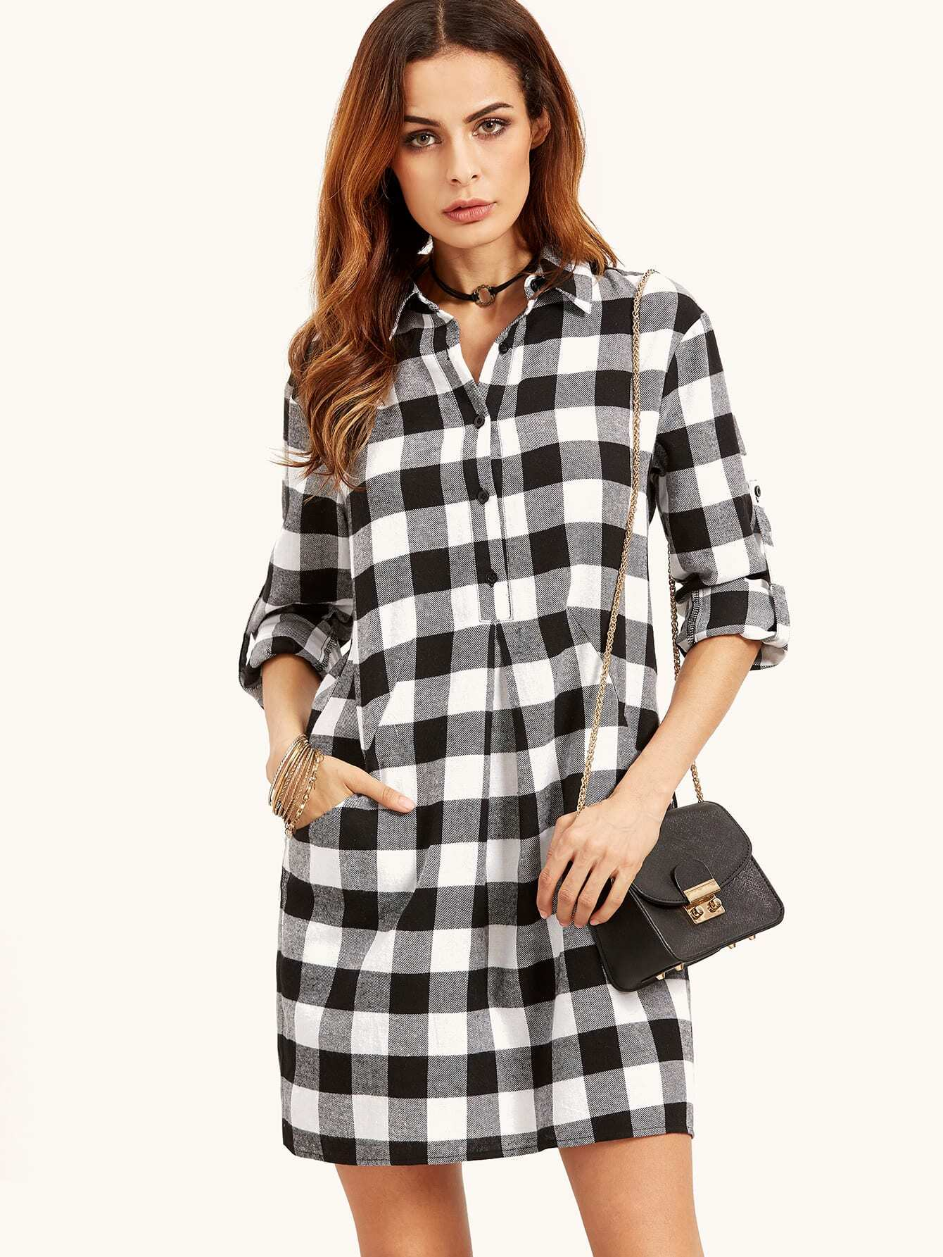 Black And White Gingham Womens Shirt