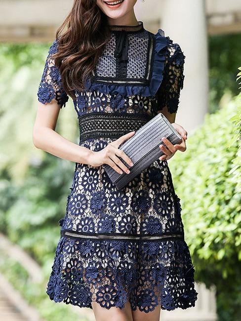 Фото Navy Crochet Hollow Out A-Line Dress. Купить с доставкой
