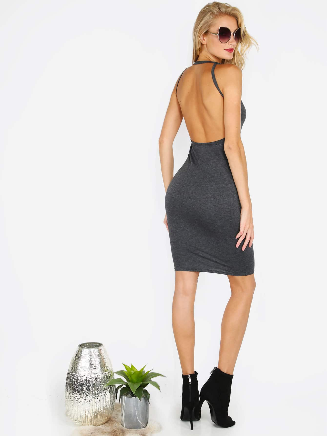 Open Back Sleeveless Bodycon Dress open back chain detail bodycon dress