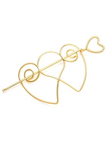 Gold Plated Heart Hollow Out Hair Pin