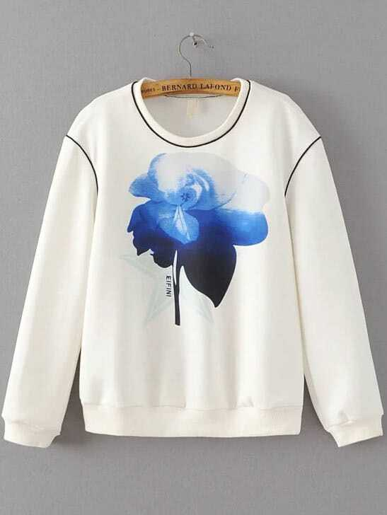 White Floral Print Round Neck Sweatshirt sweatshirt160914201