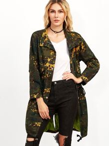 Camo Print Drop Shoulder Slit Back Drawstring Coat