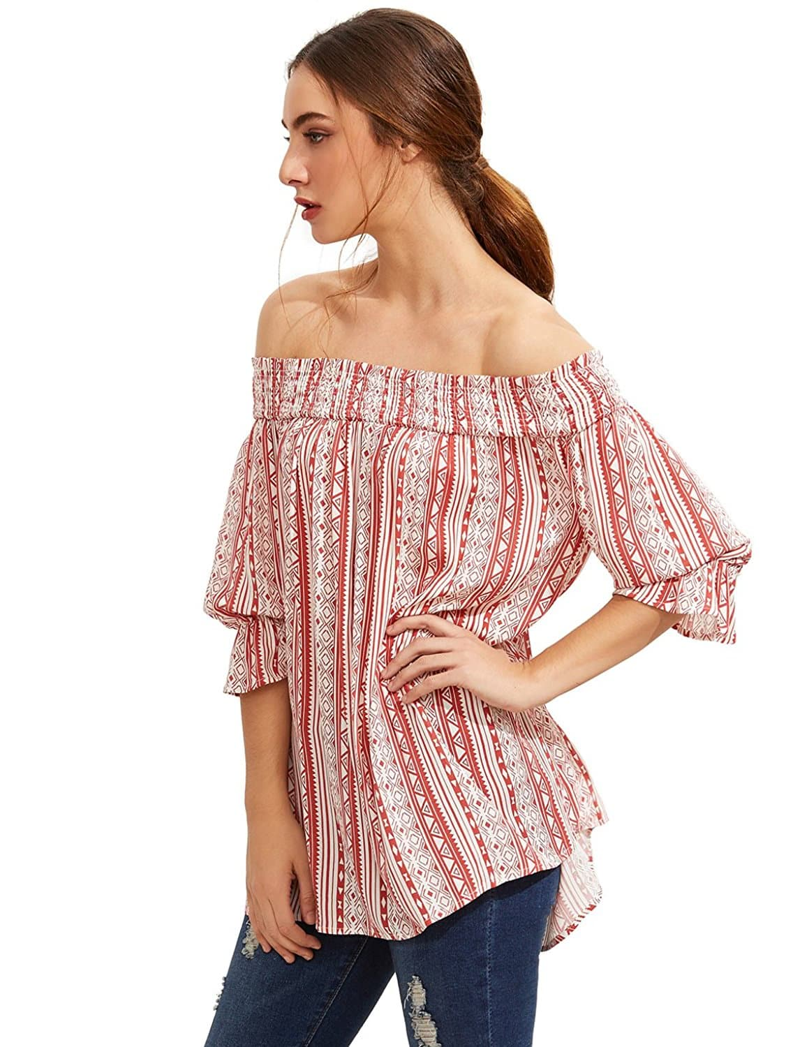 Printed Shirred Off The Shoulder Pleated Blouse blouse160902570