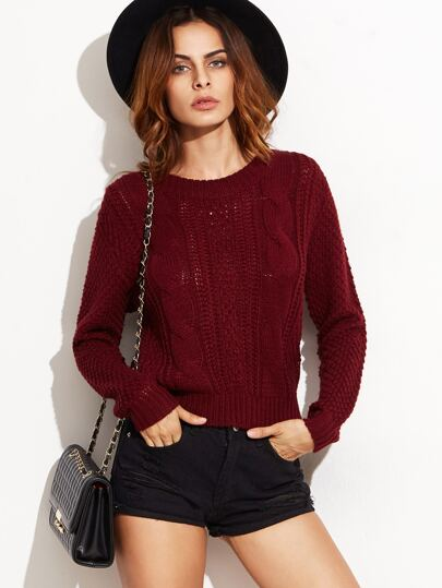 Burgundy Cable Knit Lace Up Back Sweater