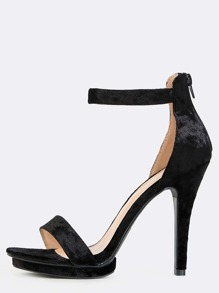 Velvet Ankle Strap Open Toe Heels BLACK